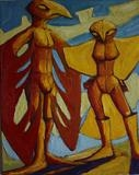 Bird People by Roger Lade, Painting, Oil on canvas