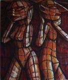 Checked Couple by Roger Lade, Painting, Acrylic on board