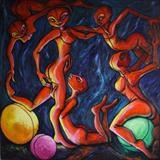 Five Orange Figures with Three Glowing Spheres by Roger Lade, Painting, Oil on Board