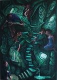 Green Stairway by Roger Lade, Painting, Oil on Board