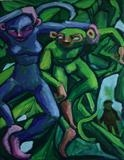 Hiding as Monkeys by Roger Lade, Painting, Oil on canvas