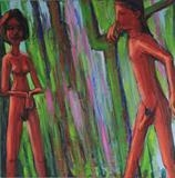 Meeting In A Wood by Roger Lade, Painting, Oil on canvas