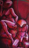 Resting Pink Grid-suited Couple by Roger Lade, Painting, Oil on canvas