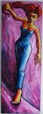 Yellow Woman in Blue Dress by Roger Lade, Painting, Oil on Board